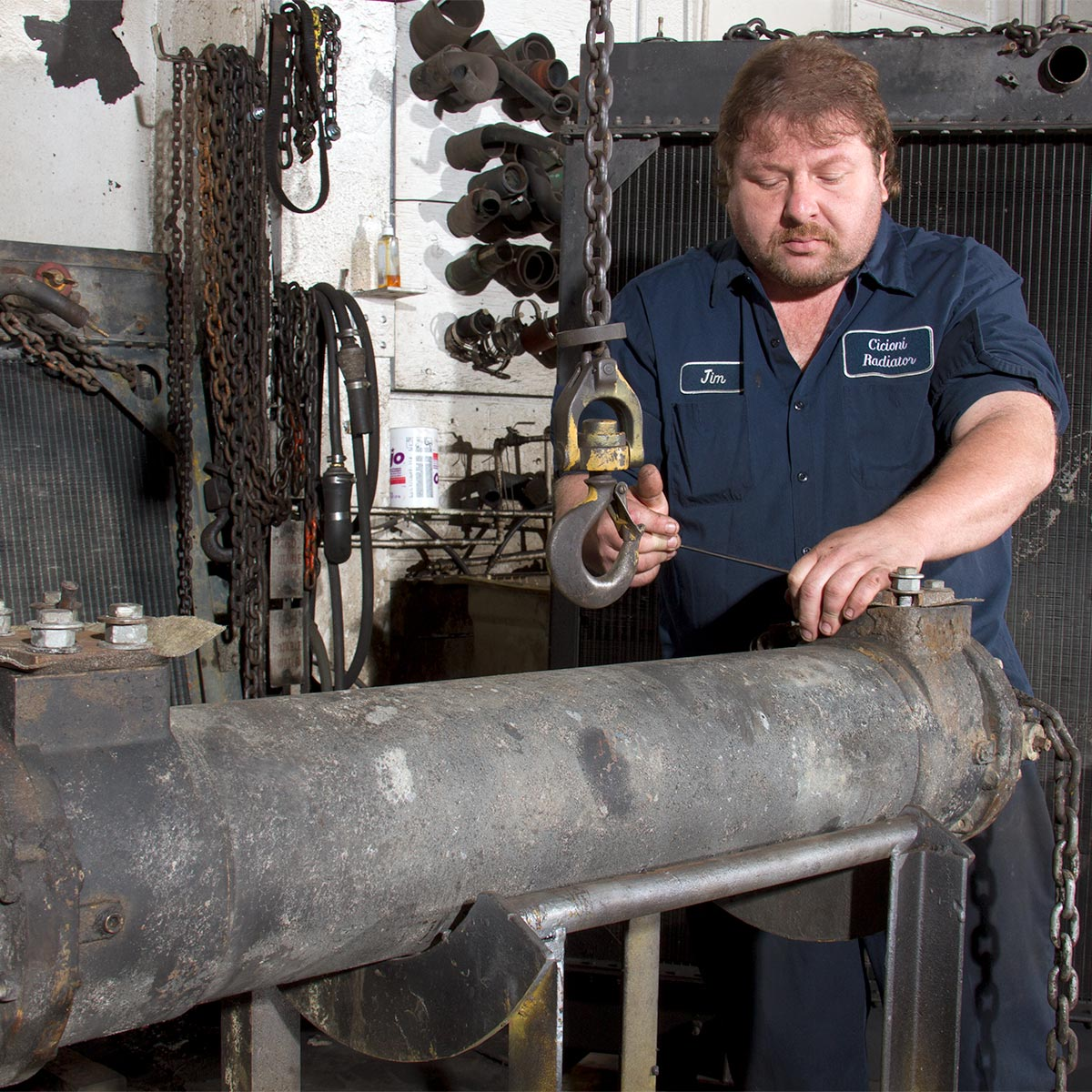 Heat exchanger repair at Cicioni.